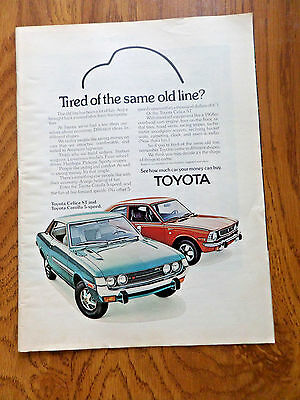 1973 Toyota Celica St & Corolla 5 Sppd Ad Tired of the Same old Line?