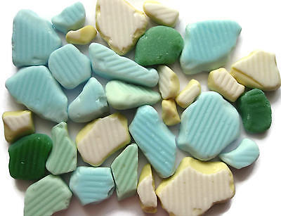 Beach Sea Milk Glass Tile Pastel Colors 30Pc Authentic Collectible Mermaid Tears