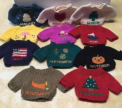 """Plush Teddy Bear Sweaters Set/11 Monthly Occasions 4.5"""" X 4.5"""" Missing August"""