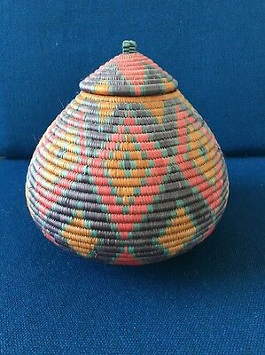 Native American Tightly Woven Basket with Lid - South Western