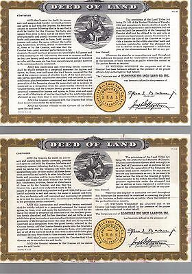 1955 Klondike Big Inch Land Co Inc Land Deeds x2 Quaker Oats promotion premiums
