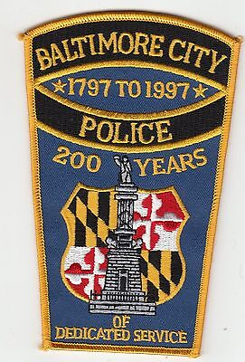 Baltimore City Police 200 Years 1797 To 1997 Patch Maryland Md