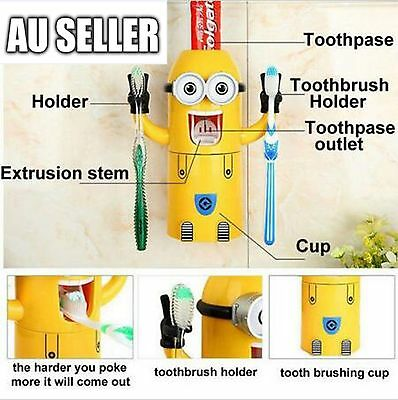 Minions Wash Toothbrush Holder Automatic Toothpaste Dispenser Set Birthday Gift