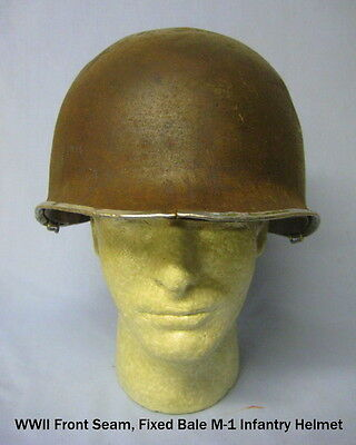 WWII Fixed Bale, Front Seam M-1 Infantry Helmet with MSA Liner