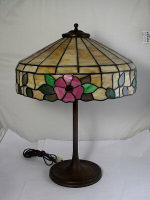 Old Antique LAMB BROTHERS Floral Leaded Glass Table lamp