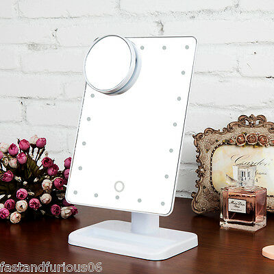 Portable 10X Magnifier Makeup Mirror 20 LED Lighted Stand Cosmetic Mirror Beauty
