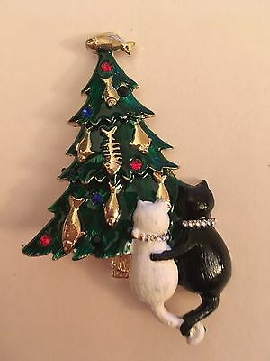 Unusual 2 Cats with Fish Ornaments in  Christmas Tree Pin Brooch 3""
