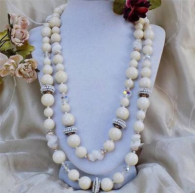 Vtg Signed MIRIAM HASKELL 2 Strand Art Glass,Crystal, Bead, Seed Pearl Necklace