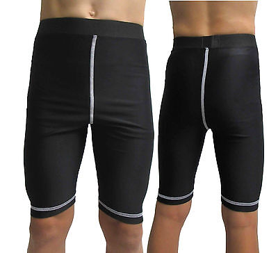 Youth Compression Shorts Age 12 14 16yrs Base Layer Boys Girls Skins Black