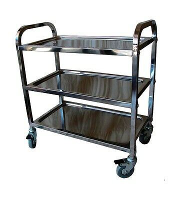RDT900 3 Tier Stainless Steel Service Trolley Utility Kitchen Dining Catering