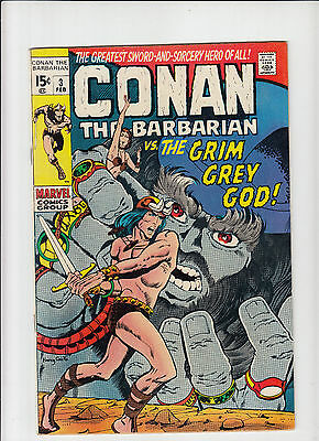 Conan the Barbarian #3 Fine+ Barry Smith art Marvel 1970 low distribution