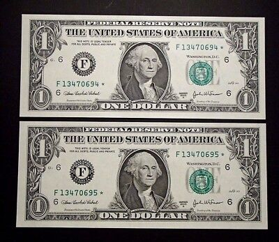 2003-A USA Consecutive One $1 Dollar Star Notes - F13470694*/95* Uncirculated