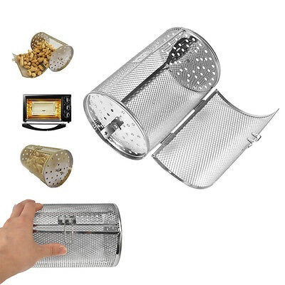 Drum Bakeware Oven Roaster Tumble Bean Peanut Basket Barbecue Rotisserie Grill H