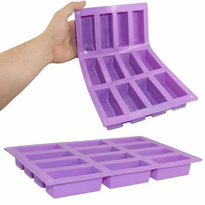 12 Cavity Rectangle Bar Soap Baking Ice Mold Silicone Mould Tray Homemade Craft