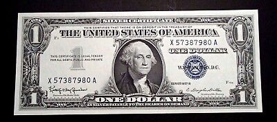 1957 United States One $1 Dollar Bank Note Silver Certificate Unc - X57387980A