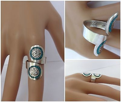 Vintage STERLING SILVER Turquoise Inlaid 925 Wrap Ring Sz 7 Signed FP~