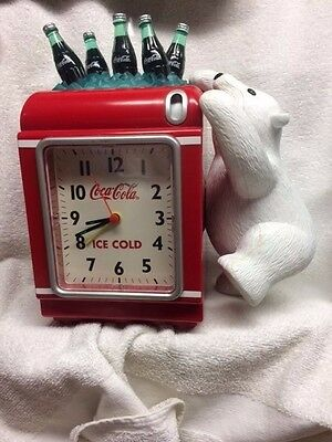 Rare Vintage Coca-Cola Coke Polar Bear Bank Alarm Clock Used