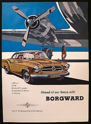 RARE 1959 BORGWARD Isabella Coupe Car Original 9x12 Ad Advert