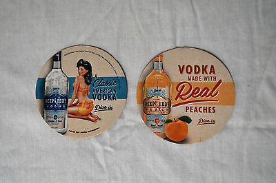 """DEEP EDDY VODKA DIVE IN PEACHES 3.5"""" BEER COASTERS 12pcs PACK NEW"""
