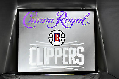 """Crown Royal Basketball L.a. Clippers 24"""" X 20"""" Led Light Sign New"""