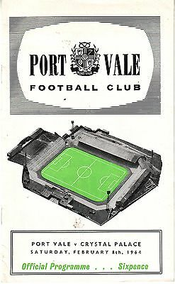 Port Vale V Crystal Palace 8 Feb 1964 52 Years Ago Vgc Very Rare