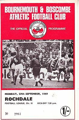 Bournemouth V Rochdale 29 Sept 1969  Do Not Miss Out! Vgc