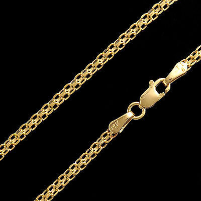 """20"""" Bismark Link Chain 14k Solid Yellow Gold Unisex Necklace 2.5mm Wide"""