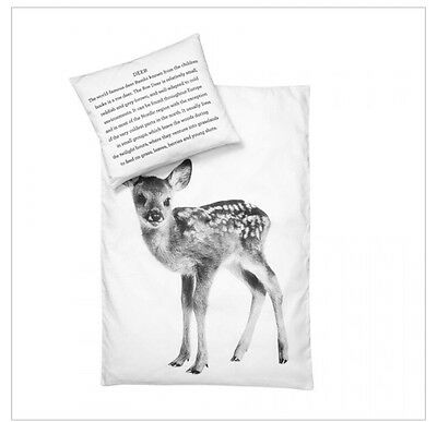 By Nord Baby Deer Fawn Cot Quilt Cover And Pillow Scandi Style Decor
