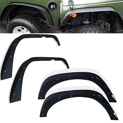Rubicon Steel Front & Rear Flat Fender Flares Kits for Jeep Wrangler JK 07-17