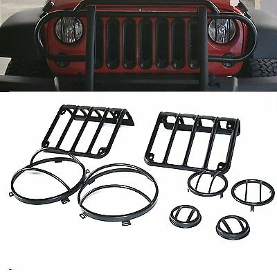 Jeep Wrangler JK Light Guard Covers Kit 8 Sets for Headlight Fender Turn Tail