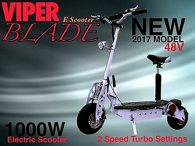 Electric Scooter 1000W 48V Viper Blade New 2017 Model, Terrain Tyres, 42KPH WOW.