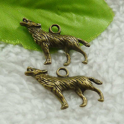 84 pcs bronze plated wolf charms 27x16mm #4637 free ship