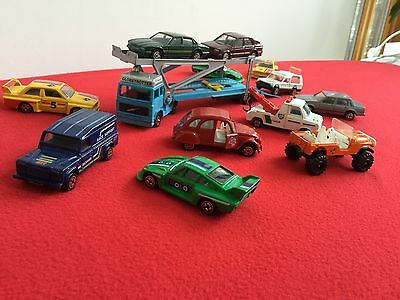 collection of vintage corgi model cars and transporter