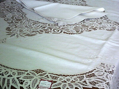 "Embroidered Cotton & Lace Vintage Tablecloth 8 Napkins 170cm / 67"" Round Unused"