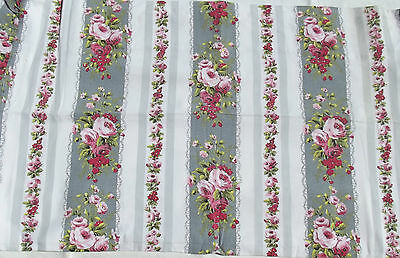 Beautiful Piece Vintage French 1940s Rose Ticking material Panel Pink Rosebud