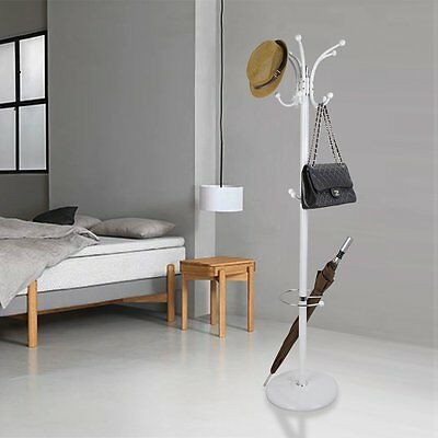Hat Coat Clothes Bag Rack Umbrella Metal Stand Tree Style Hanger Jacket Scarfs