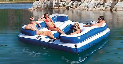 New 4 Person Inflatable Party Island Floating River Lake Beach Pool Water Raft L