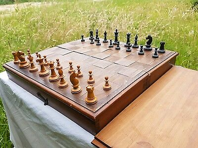 ebonised boxwood small jacques or staunton chess set hand carved
