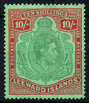 Leeward Islands 1938-51 KGVI SG113 10/- VLMM stamp - Cat £200