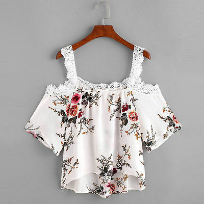 Women Short Sleeve Floral T-Shirt Off Shoulder Lace Blouse Casual Beach Tops