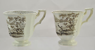 Pair of Romantic Staffordshire Brown Transfer Footed Cups c 1840