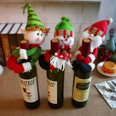 Christmas Santa Claus Snowman Wine Bottle Cover Xmas Dinner Bar Decoration - CB