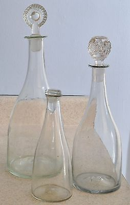 3 Fine Antique Graduated Free Blown Glass Decanters Early 19th Century
