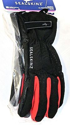 Sealskinz Women's All Weather Cycle XP Gloves Black Red Size Large Sealed NEW