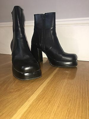 Vintage Leather GoGo Platform Ankle Boots Glam Rock 70s 80s 90s Black Size 4.5