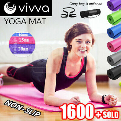 10/15/20MM Thick Yoga Mat Pad Nonslip Exercise Fitness Pilate Gym 7Color OZ