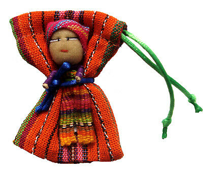 Worry Doll - SINGLE BIG WORRY DOLL in TEXTILE BAG - RED