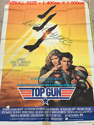 TOM CRUISE   Hand Signed   TOP GUN   Film / Movie Vintage Poster  Very Rare Item