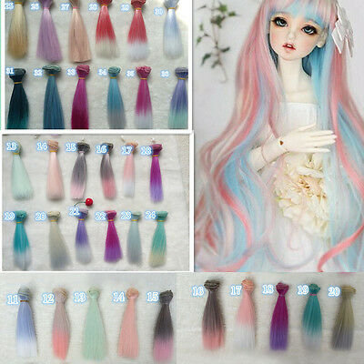 15cm DIY Colorful Doll Straight Hair Wigs for 1/3 1/4 1/6 Barbie BJD SD Doll Toy