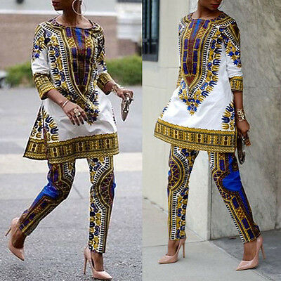 Women's African Print Dashiki Tops Party Evening Mini Dress + Pants Suit Outfits